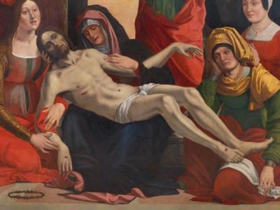 """Giovanni Francesco Maineri (nato a Parma e documentato dal 1489 al 1506 tra Ferrara e Mantova) """"Compianto di Cristo morto e donatori"""" (particolare), olio su tavola, cm 174 x 137"""