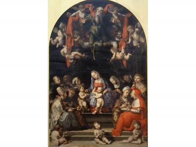 """Fig. 1. Girolamo Genga, """"Disputa sull'Immacolata Concezione"""", Milano, Pinacoteca di Brera (dalla chiesa di Sant'Agostino a Cesena)"""